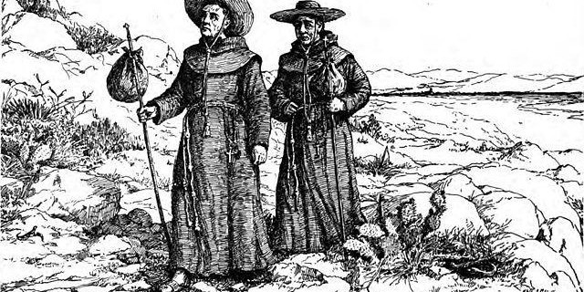 Franciscans of the California missions wore gray habits, rather than the brown cassocks that are worn today. Taken from p. 20 of San Juan Capistrano Mission by Engelhardt, Zephyrin (1922).