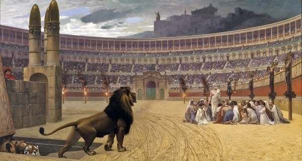 The Christian Martyrs' Last Prayer, by Jean-Léon Gérôme (1883). The artist also commented on the religious fortitude of the victims who were about to suffer martyrdom either by being devoured by the wild beasts or by being smeared with pitch and set ablaze, which also never took place in the Circus Maximus.