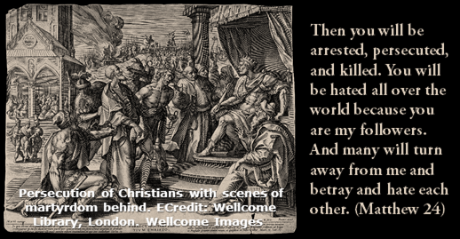 Persecution of Christians with scenes of martyrdom behind. ECredit: Wellcome Library, London. Wellcome Images