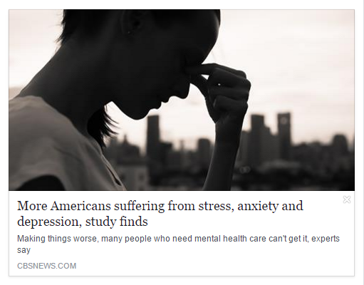 More Americans suffering from stress, anxiety and depression, study finds