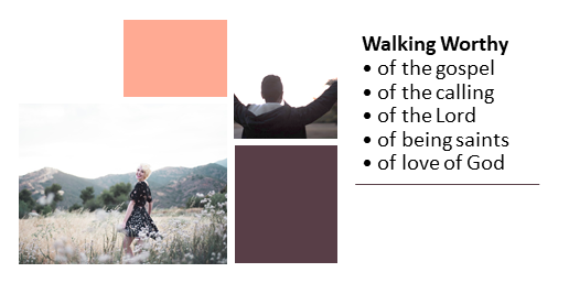 Walking Worthy of the gospel, the calling, the Lord, being saints, love of God