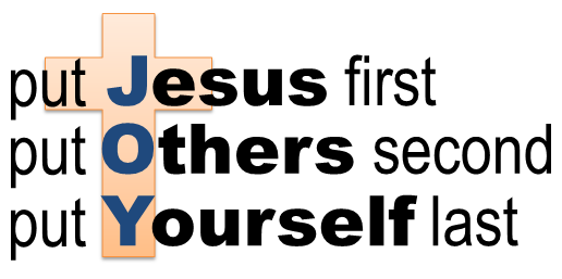 put Jesus first, others second, and yourself last